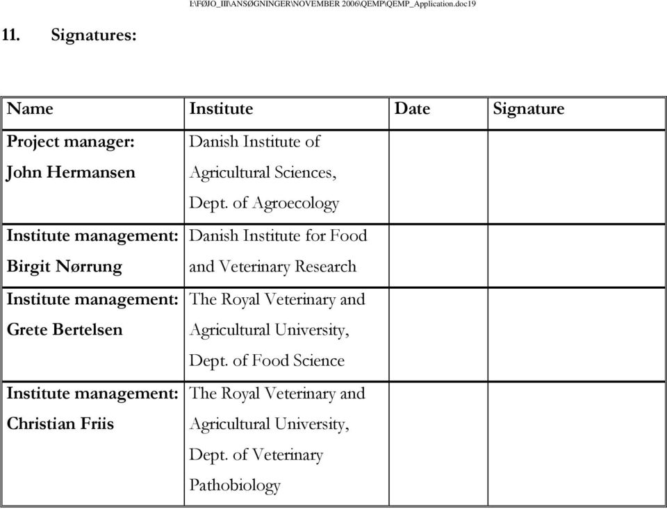 of Agroecology Institute management: Birgit Nørrung Danish Institute for Food and Veterinary Research Institute management: Grete