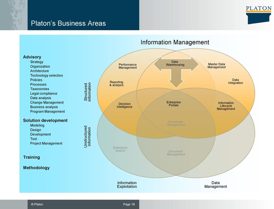Decision Intelligence Data Warehousing Enterprise Portals Master Data Management Data Integration Information Lifecycle Management Solution development Modeling