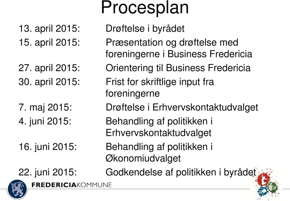 april 2015: Orientering til Business Fredericia 30. april 2015: Frist for skriftlige input fra foreningerne 7.