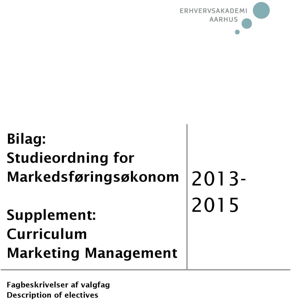 Curriculum Marketing Management