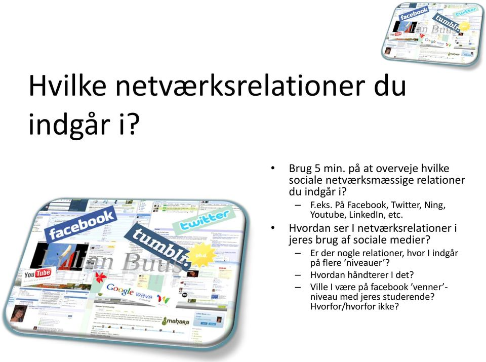På Facebook, Twitter, Ning, Youtube, LinkedIn, etc.