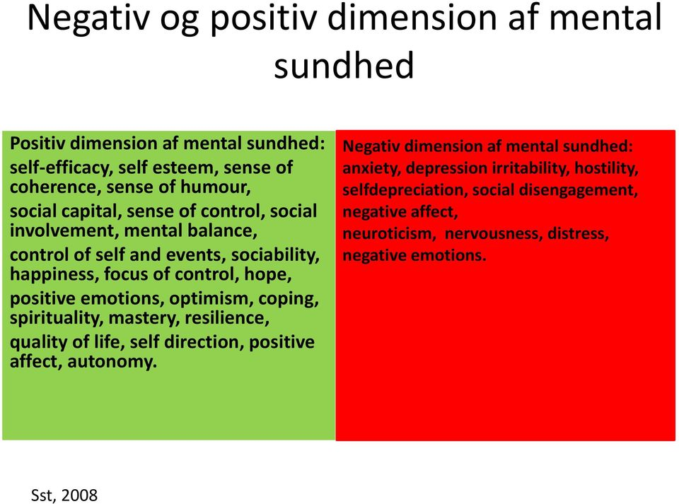 optimism, coping, spirituality, mastery, resilience, quality of life, self direction, positive affect, autonomy.