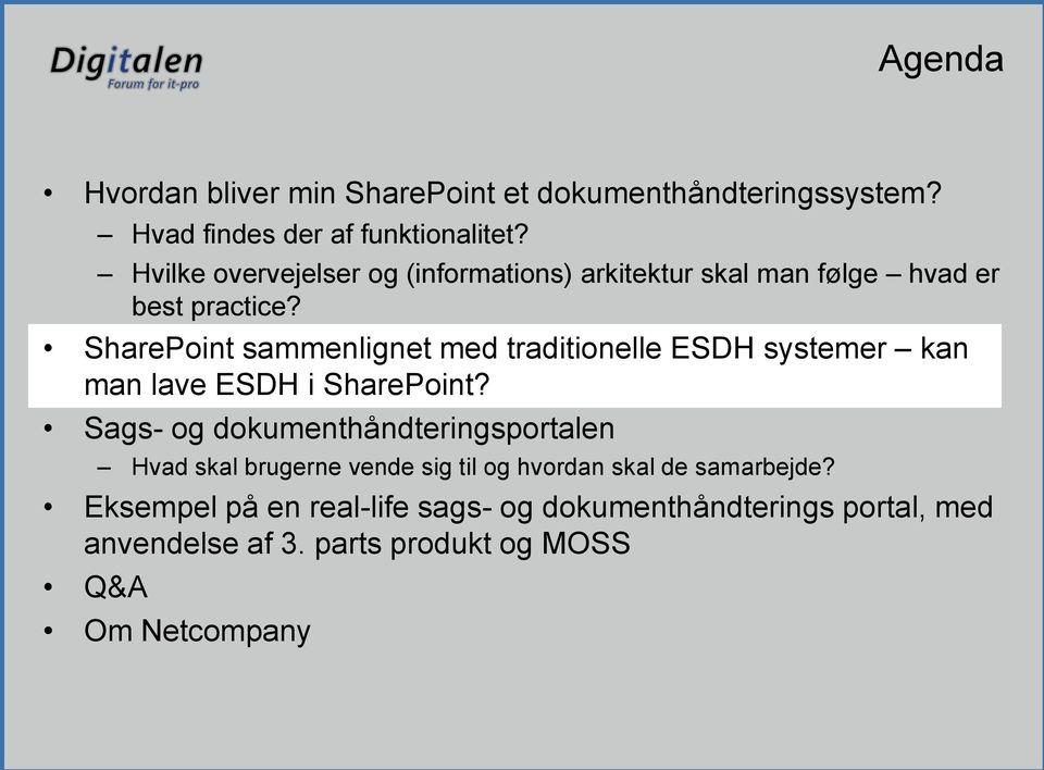 SharePoint sammenlignet med traditionelle ESDH systemer kan man lave ESDH i SharePoint?