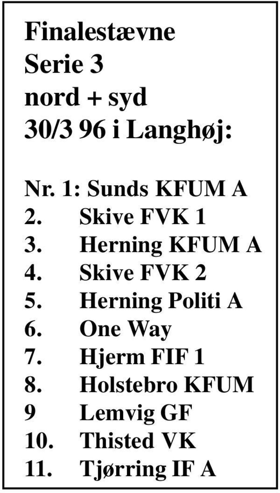 Skive FVK 2 5. Herning Politi A 6. One Way 7.