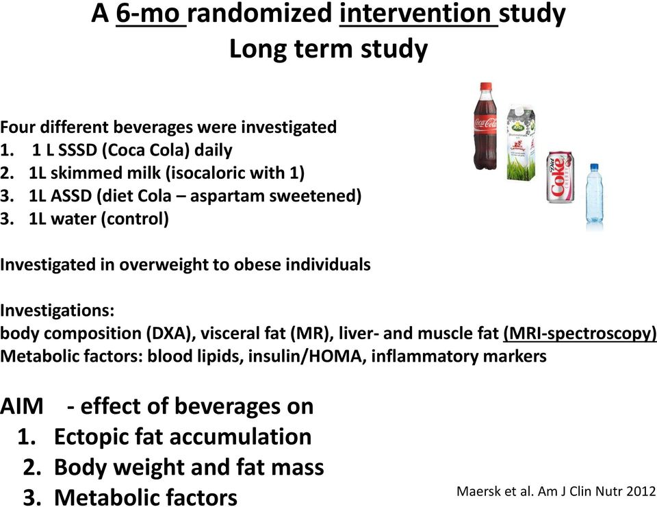 1L water (control) Investigated in overweight to obese individuals Investigations: body composition (DXA), visceral fat (MR), liver- and muscle