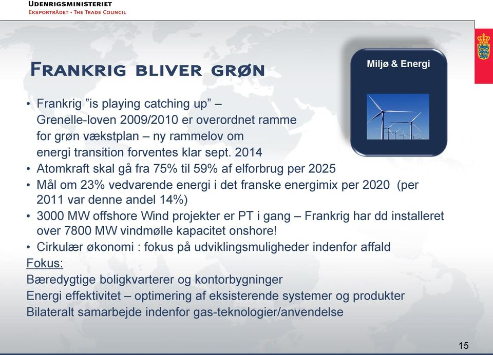 offshore Wind projekter er PT i gang Frankrig har dd installeret over 7800 MW vindmølle kapacitet onshore!