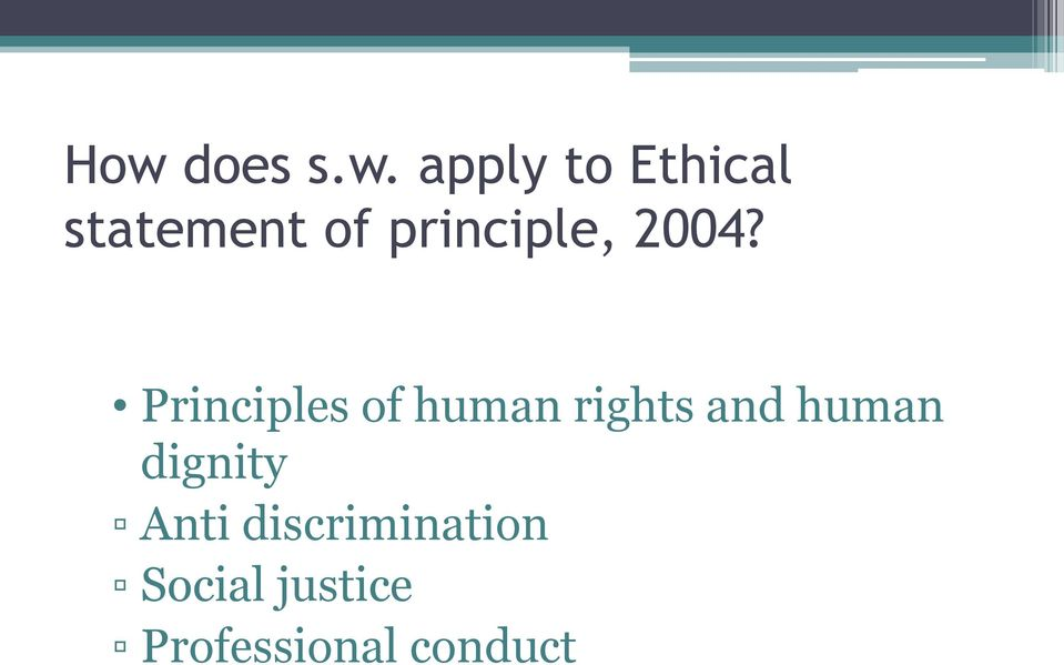 Principles of human rights and human