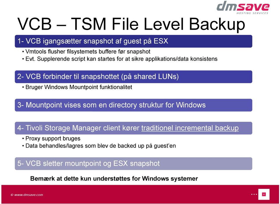 Mountpoint funktionalitet 3- Mountpoint vises som en directory struktur for Windows 4- Tivoli Storage Manager client kører traditionel incremental