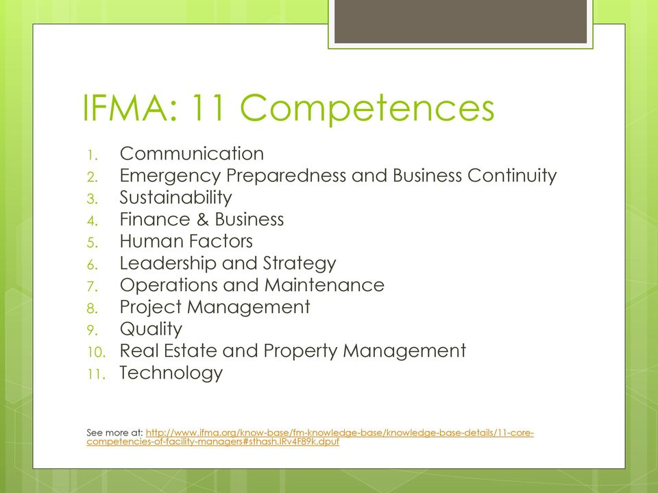 Project Management 9. Quality 10. Real Estate and Property Management 11. Technology See more at: http://www.
