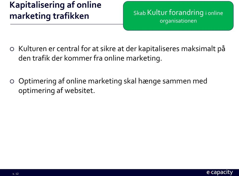kapitaliseres maksimalt på den trafik der kommer fra online marketing.
