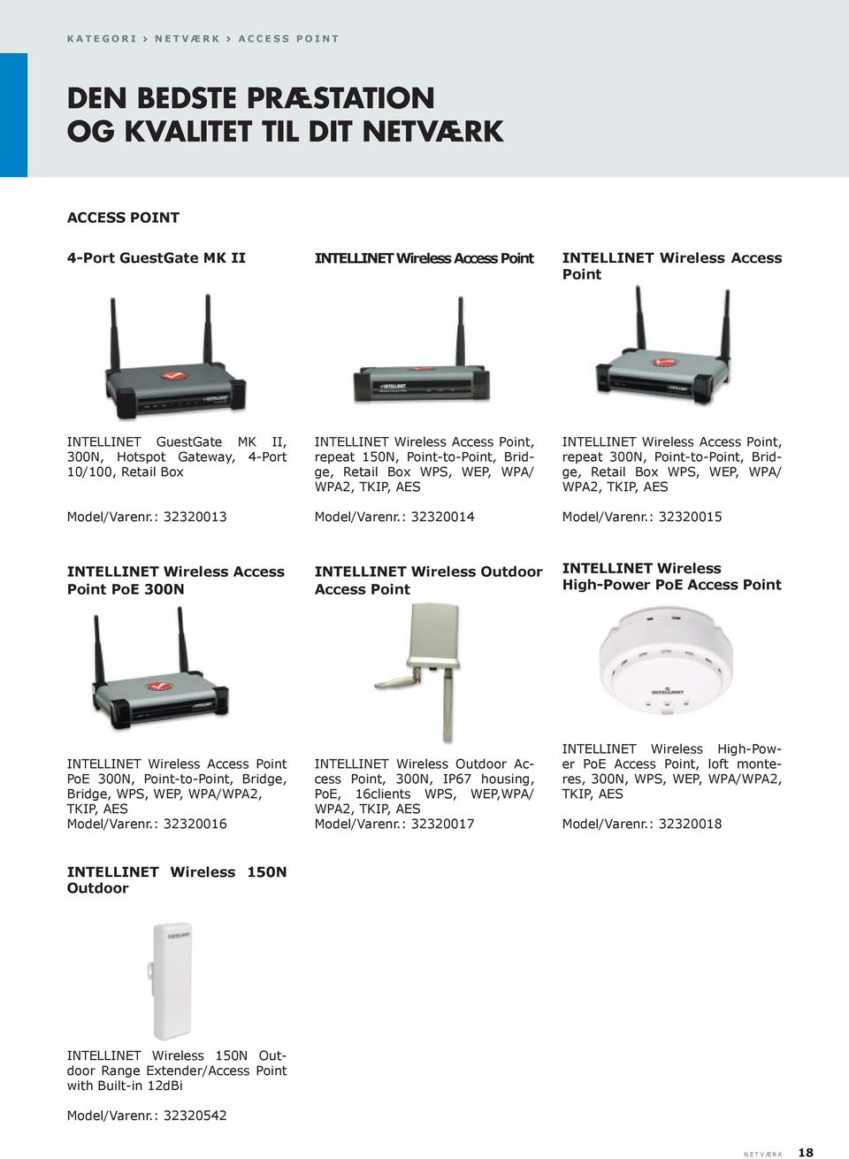 : 32320013 INTELLINET Wireless Access Point, repeat 150N, Point-to-Point, Bridge, Retail Box WPS, WEP, WPA/ WPA2, TKIP, AES Model/Varenr.