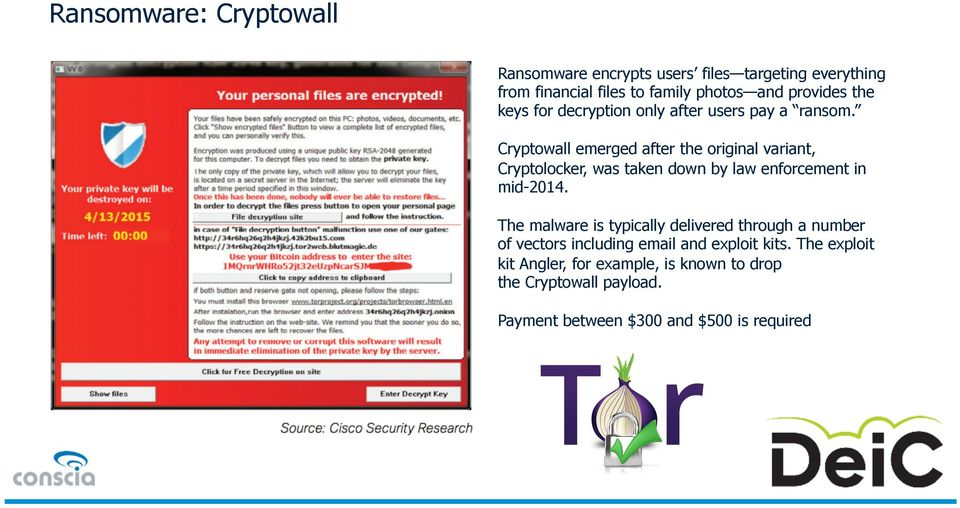 Cryptowall emerged after the original variant, Cryptolocker, was taken down by law enforcement in mid-2014.