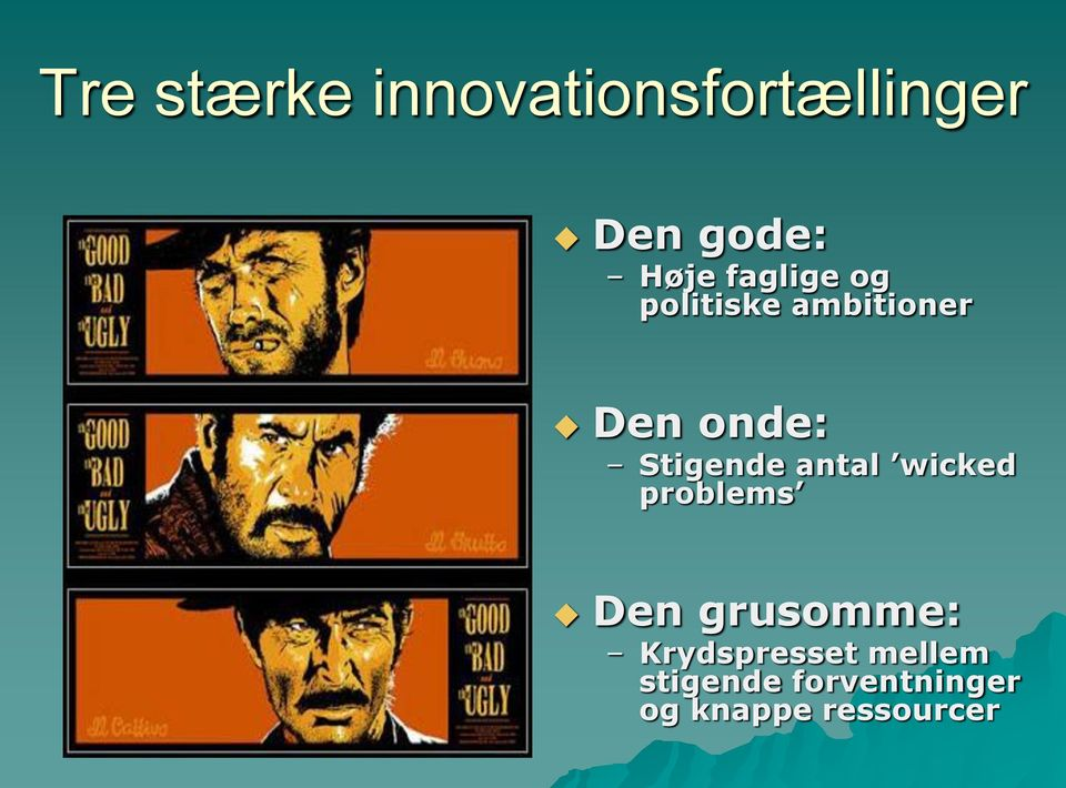Stigende antal wicked problems Den grusomme: