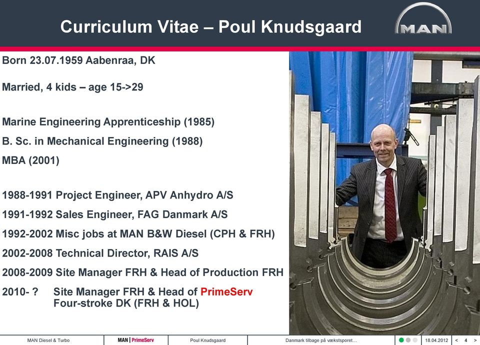in Mechanical Engineering (1988) MBA (2001) 1988-1991 Project Engineer, APV Anhydro A/S 1991-1992 Sales Engineer, FAG