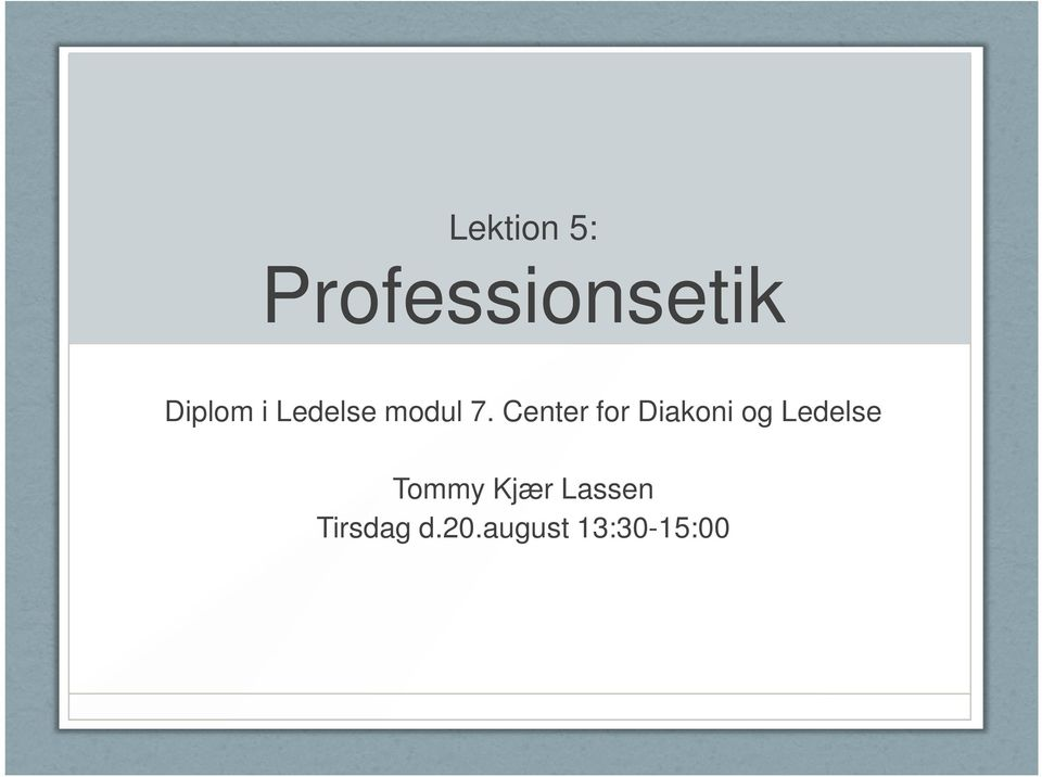 Center for Diakoni og Ledelse
