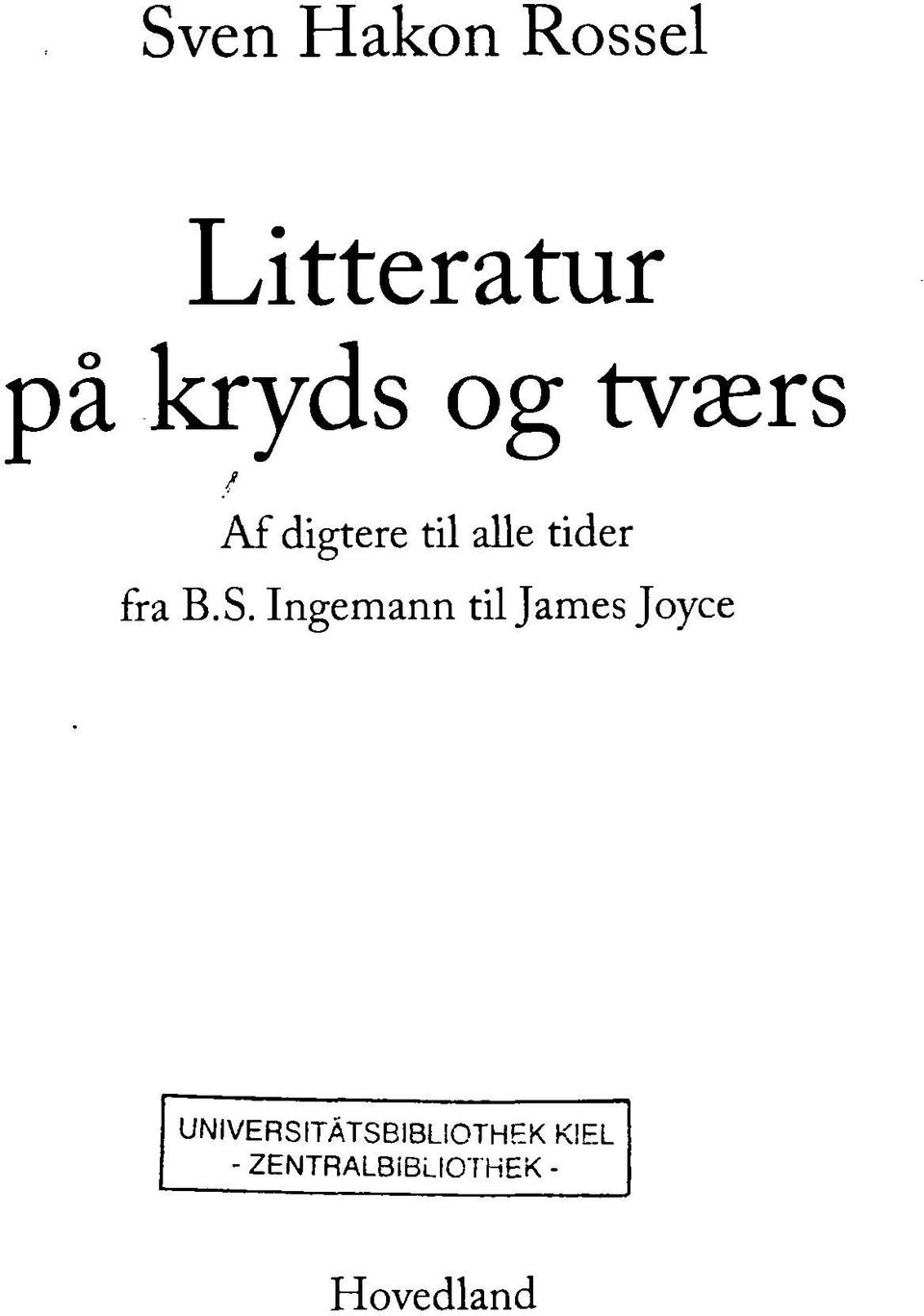 Ingemann til James Joyce