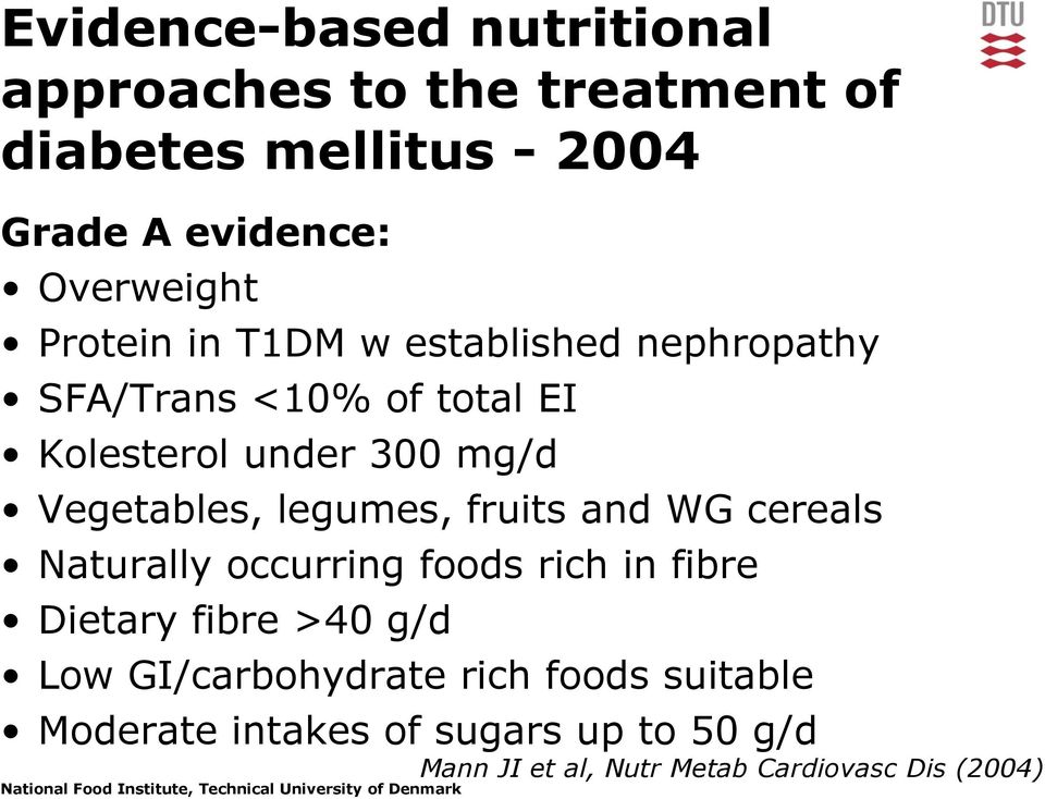Vegetables, legumes, fruits and WG cereals Naturally occurring foods rich in fibre Dietary fibre >40 g/d Low