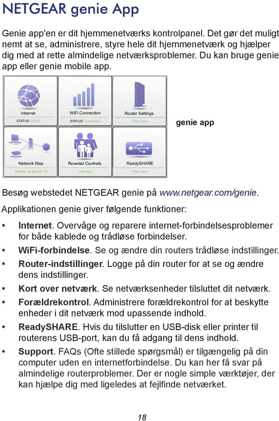 Internet STATUS GOOD WiFi Connection STATUS Connected Router Settings Click here genie app Network Map Parental Controls ReadySHARE Number of devices 16 Click here Click here Besøg webstedet NETGEAR