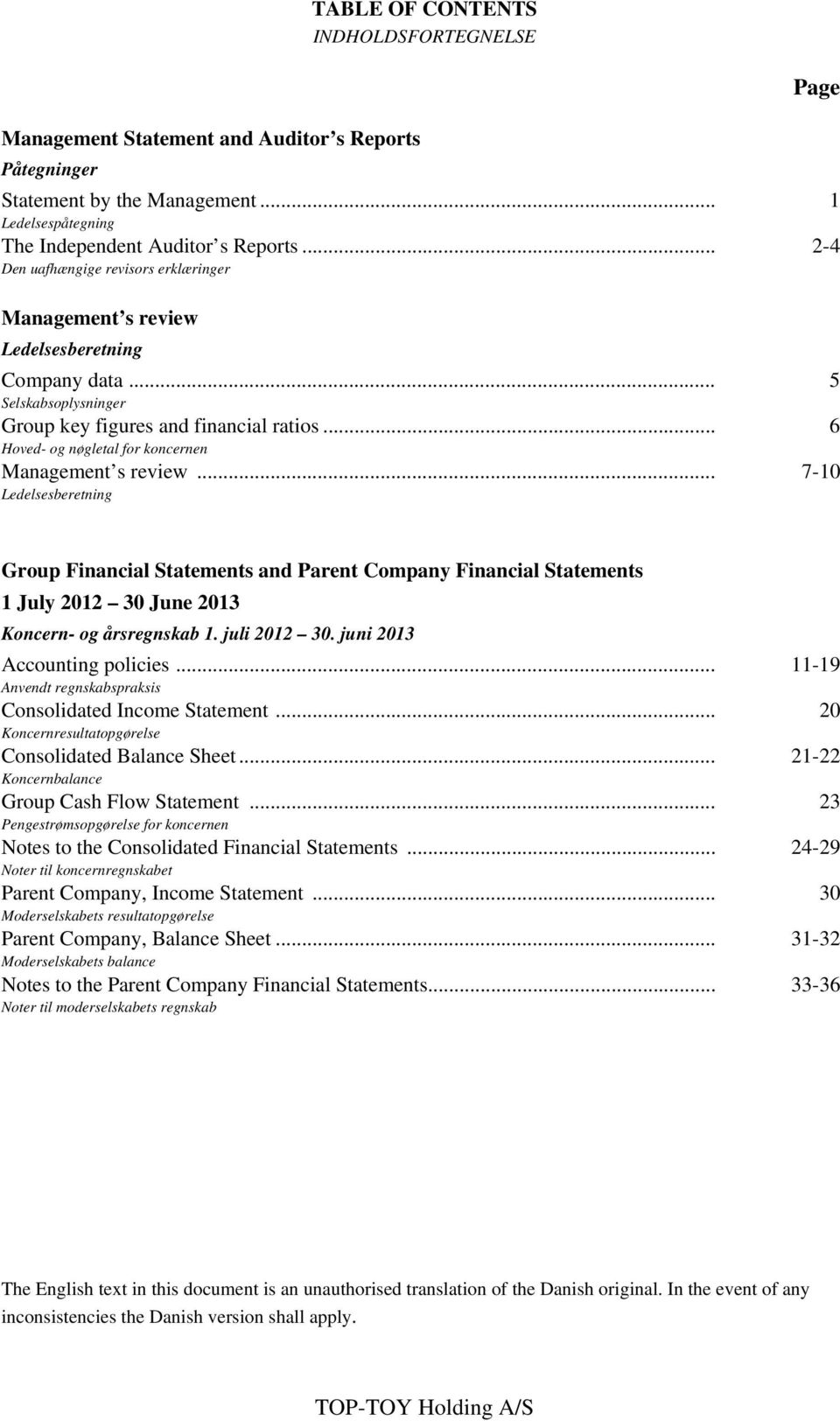 .. 6 Hoved- og nøgletal for koncernen Management s review... 7-10 Ledelsesberetning Group Financial Statements and Parent Company Financial Statements 1 July 2012 30 June 2013 Koncern- og årsregnskab 1.