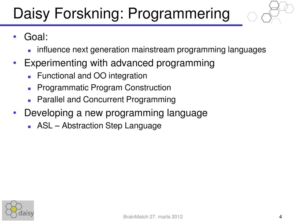 integration Programmatic Program Construction Parallel and Concurrent Programming