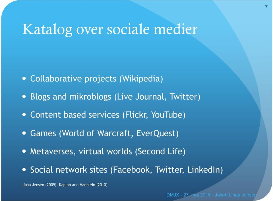 (World of Warcraft, EverQuest) Metaverses, virtual worlds (Second Life) Social