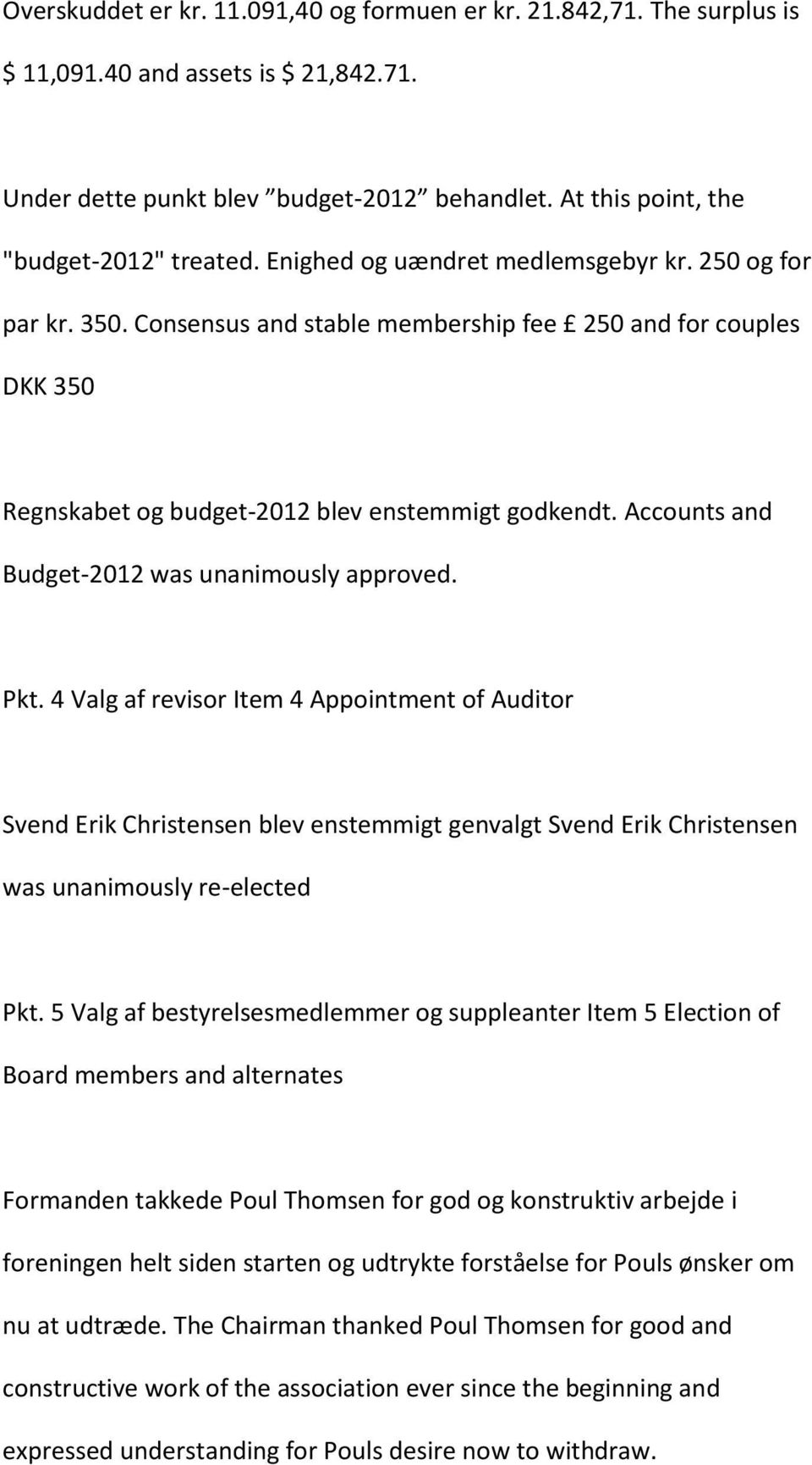 Accounts and Budget-2012 was unanimously approved. Pkt.