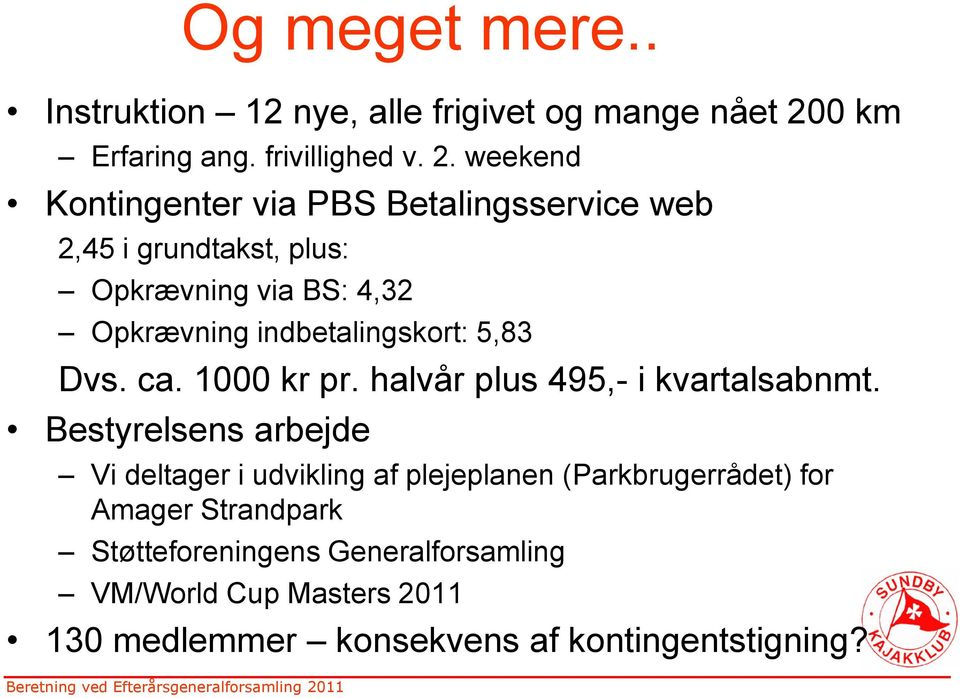 weekend Kontingenter via PBS Betalingsservice web 2,45 i grundtakst, plus: Opkrævning via BS: 4,32 Opkrævning