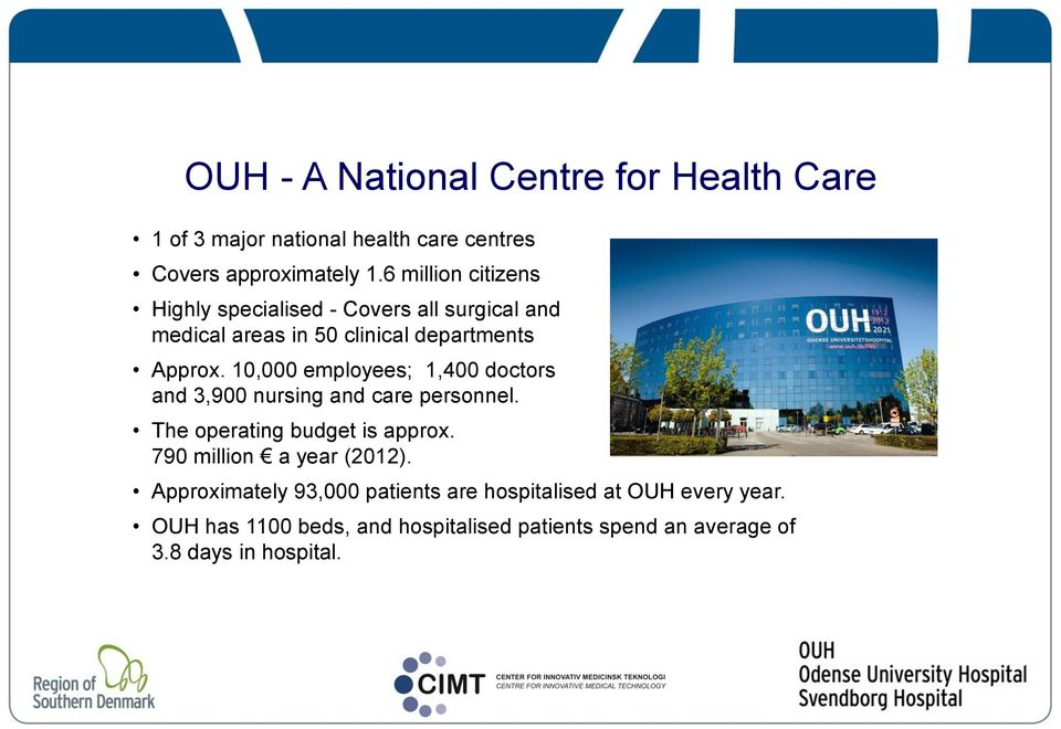 10,000 employees; 1,400 doctors and 3,900 nursing and care personnel. The operating budget is approx.