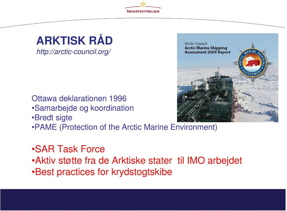 sigte PAME (Protection of the Arctic Marine Environment) SAR