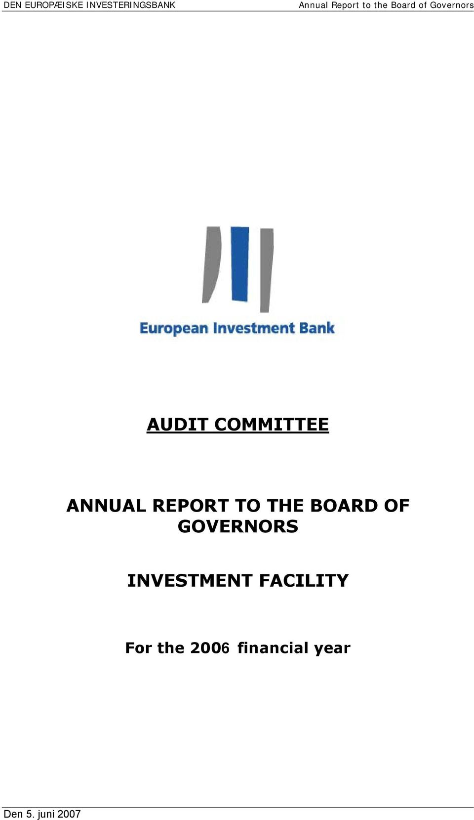 ANNUAL REPORT TO THE BOARD OF GOVERNORS