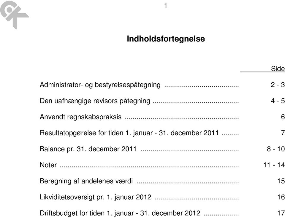 .. 6 Resultatopgørelse for tiden 1. januar - 31. december 2011... 7 Balance pr. 31. december 2011... 8-10 Noter.