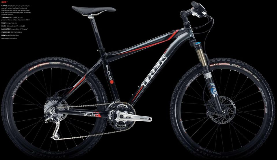 Affjedring Fox 32 F100 RL w/air pressure, rebound, lockout, alloy steerer, 100mm Hjul Bontrager Race Lite