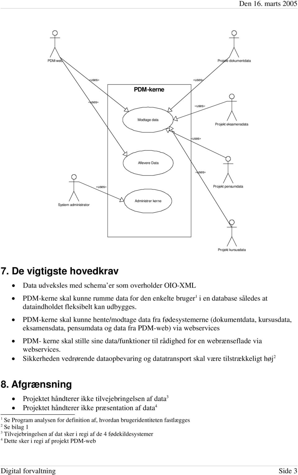 PDM-kerne skal kunne hente/modtage data fra fødesystemerne (dokumentdata, kursusdata, eksamensdata, pensumdata og data fra PDM-web) via webservices PDM- kerne skal stille sine data/funktioner til