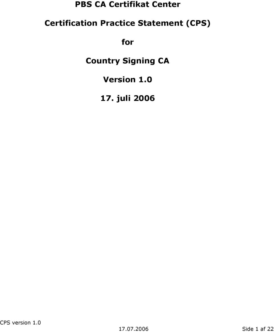 (CPS) for Country Signing CA