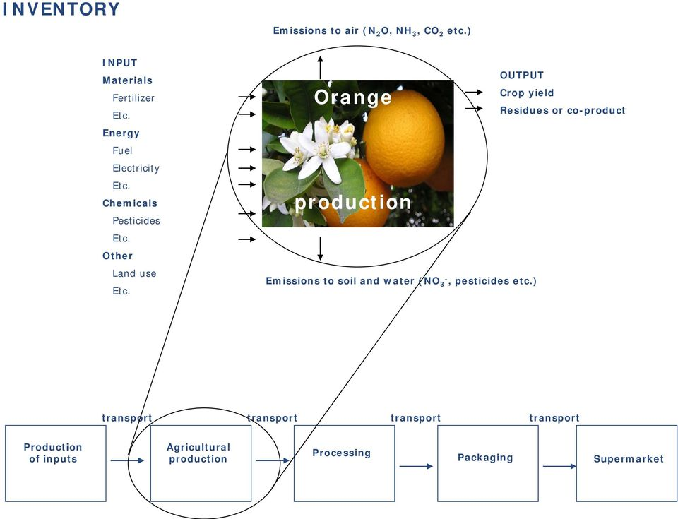 Orange production Emissions to soil and water (NO 3-, pesticides etc.
