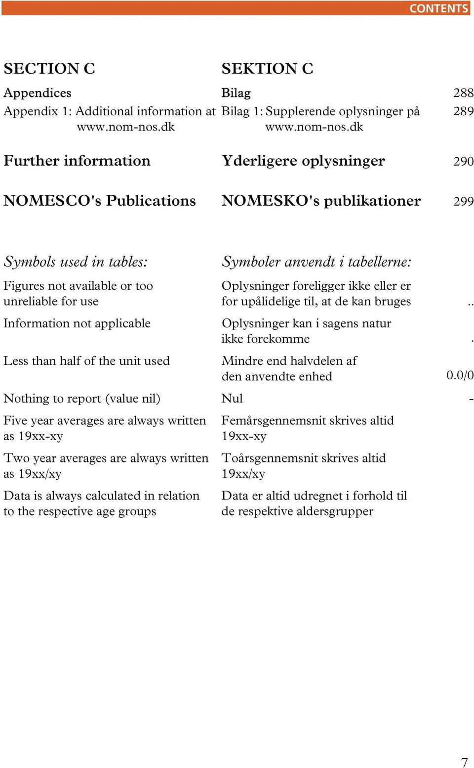 dk Further information Yderligere oplysninger 290 NOMESCO's Publications NOMESKO's publikationer 299 Symbols used in tables: Figures not available or too unreliable for use Information not applicable