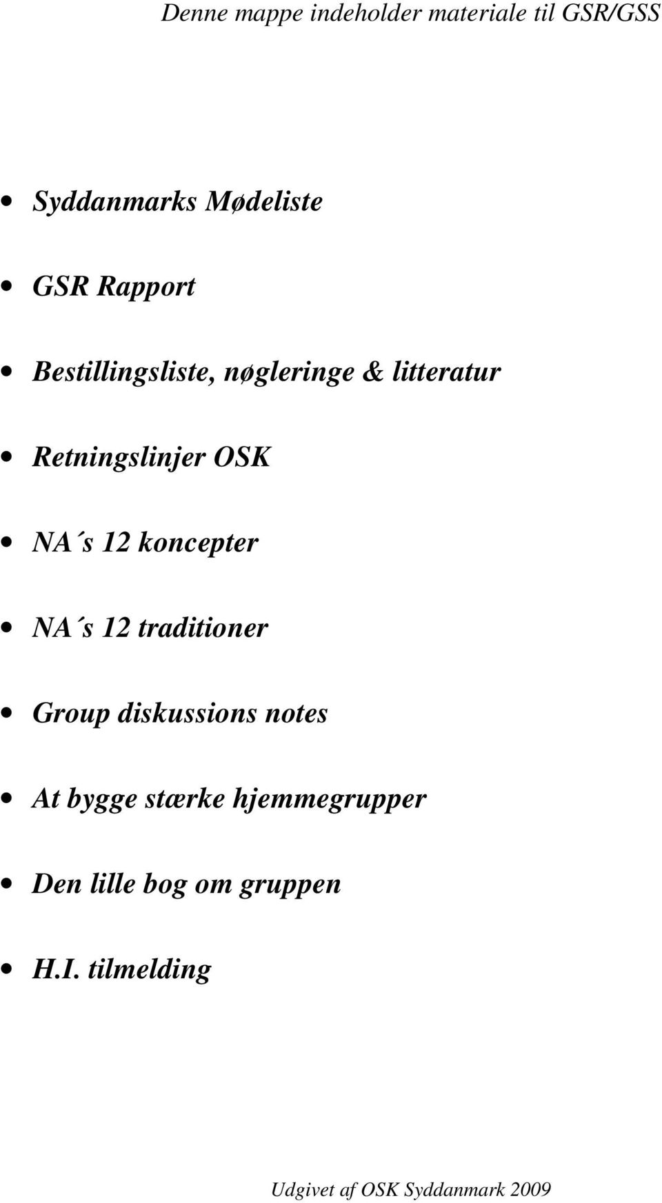 koncepter NA s 12 traditioner Group diskussions notes At bygge