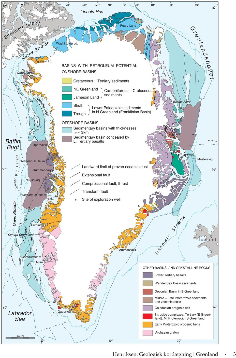 Greenland Lower Palaeozoic sediments in N Greenland (Franklinian Basin) Trough Shelf Bessel Fjord t Bug le vil el? Baffin Bugt? Upernavik Border w i t h C an a da d?