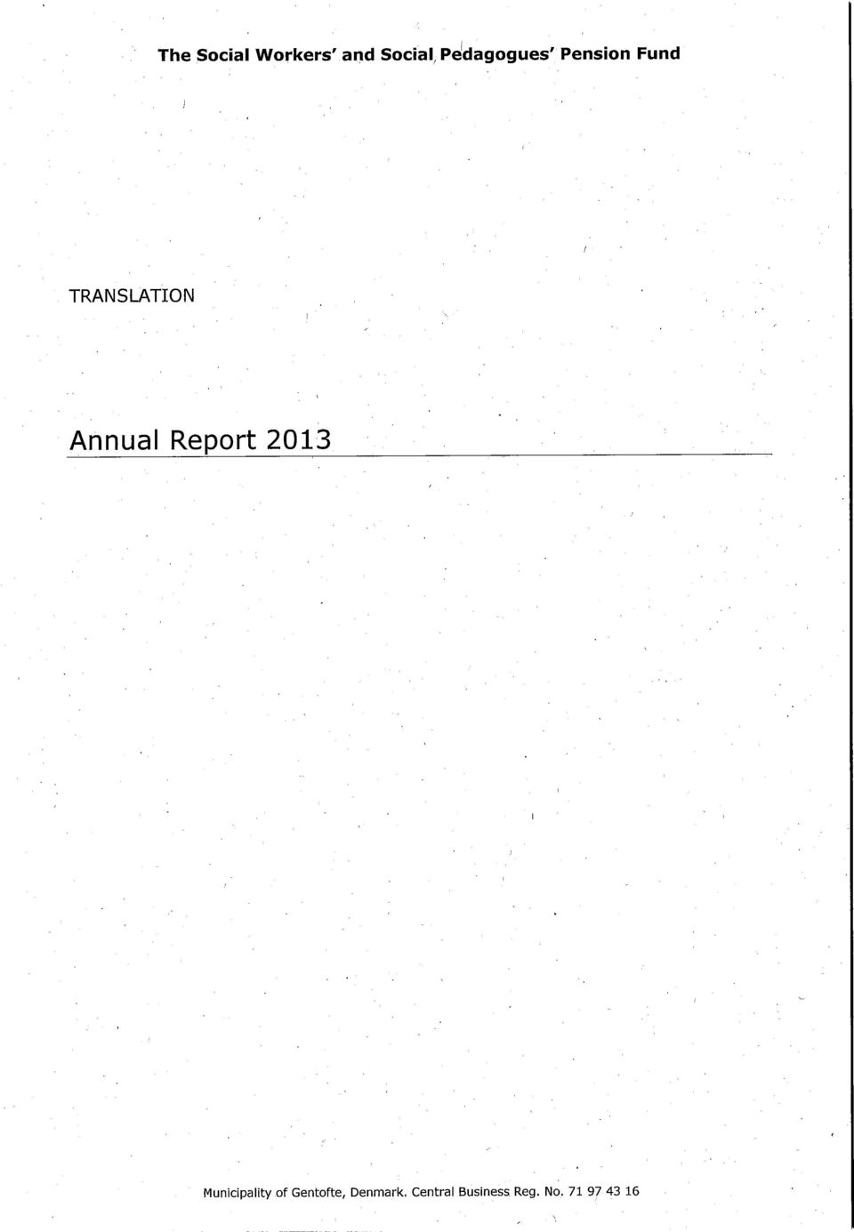 Annual Report 2013 Municipality of