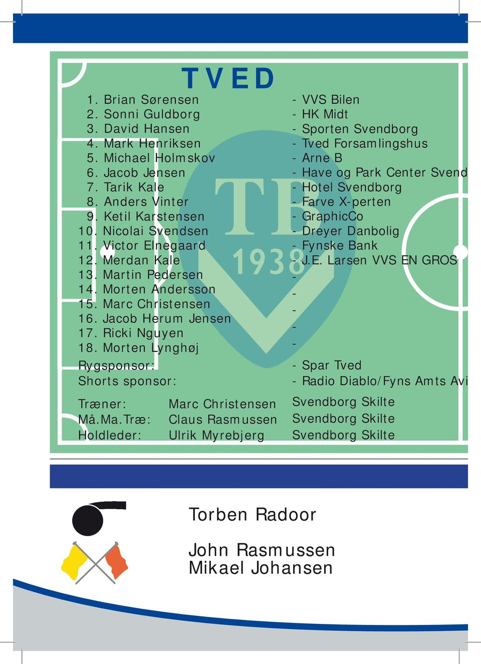 tin Pedersen 14. Morten Andersson 15. Mar