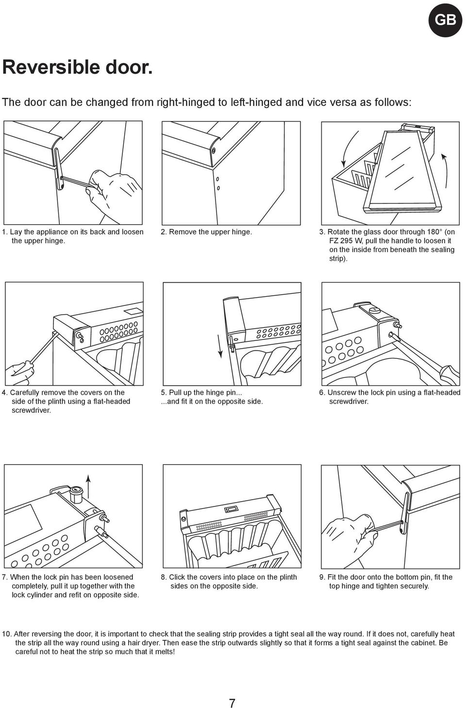 Carefully remove the covers on the side of the plinth using a flat-headed screwdriver. 5. Pull up the hinge pin......and fit it on the opposite side. 6.