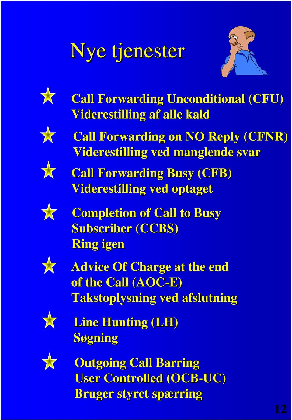 of Call to Busy Subscriber (CCBS) Ring igen Advice Of Charge at the end of the Call (AOC-E) Takstoplysning