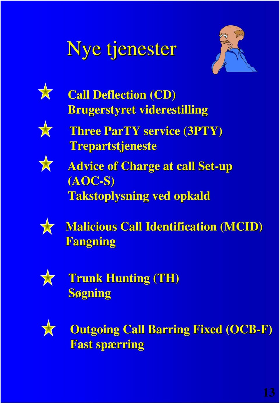 Takstoplysning ved opkald Malicious Call Identification (MCID) Fangning