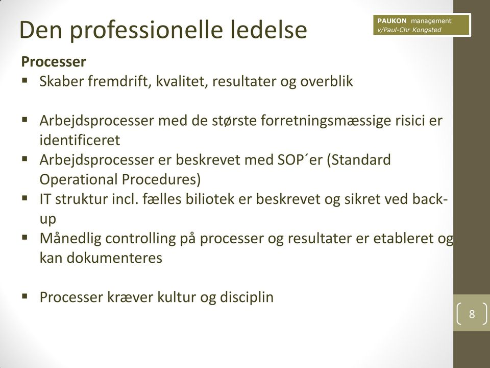 (Standard Operational Procedures) IT struktur incl.