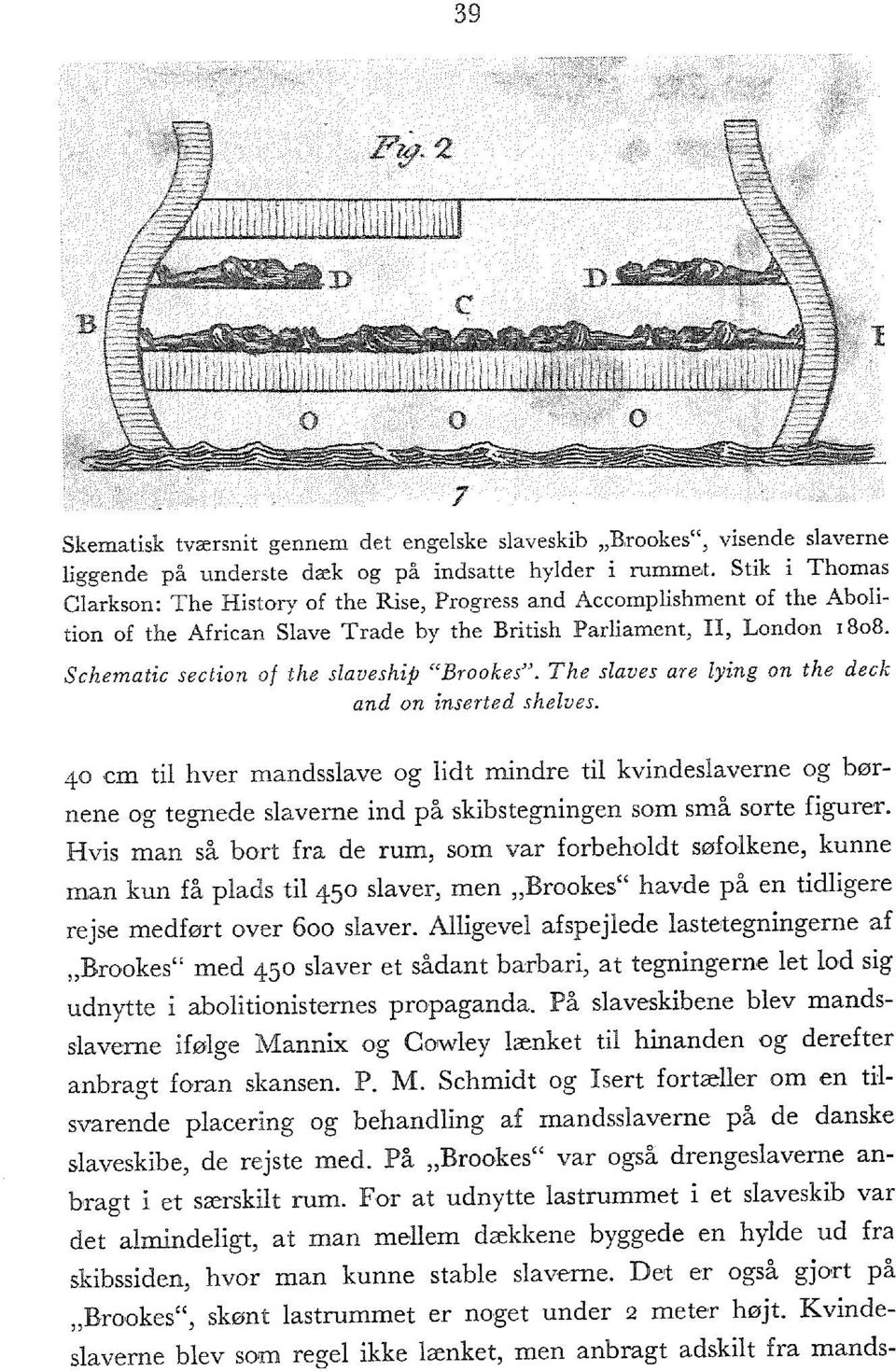 "Schematic section of the slaveship ""Brookes"". The slaves are lying on the deck and on inserted shelves."