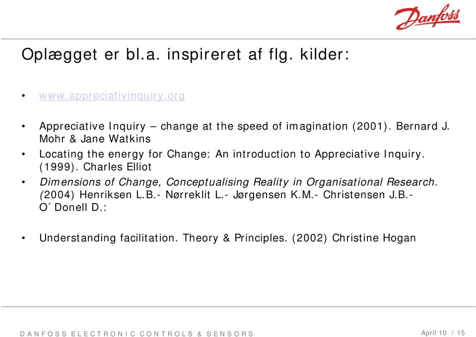 Mohr & Jane Watkins Locating the energy for Change: An introduction to Appreciative Inquiry. (1999).