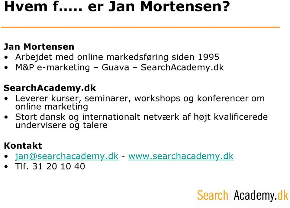 SearchAcademy.dk SearchAcademy.