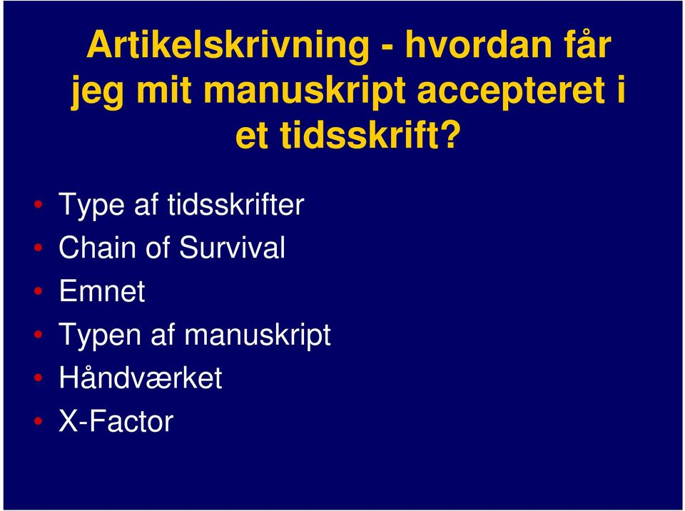 Type af tidsskrifter Chain of Survival