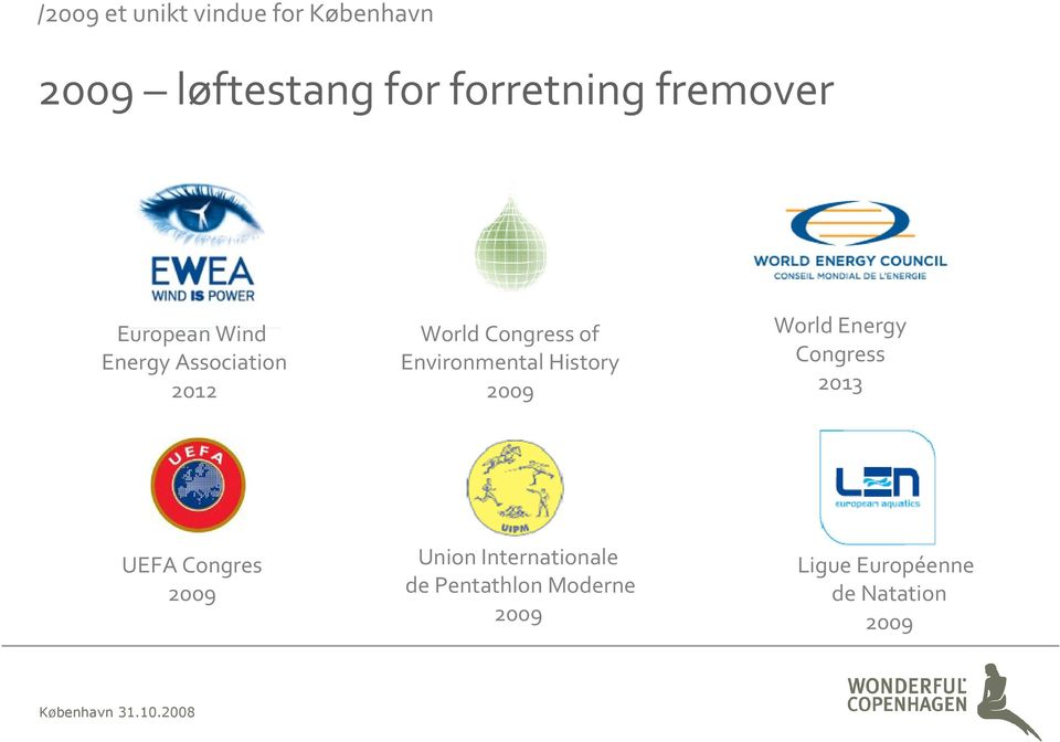 Environmental History 2009 World Energy Congress 2013 UEFA Congres 2009