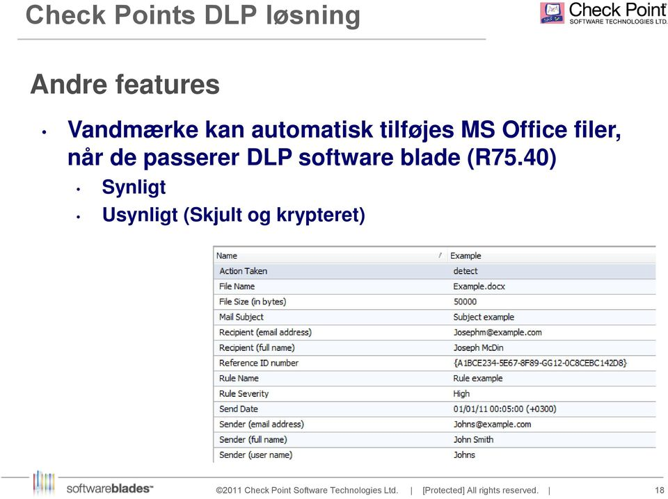 filer, når de passerer DLP software blade